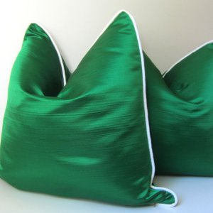 Emerald Silk with white contrast piping