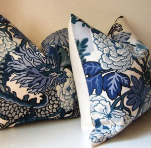 Chiang Mai Dragon China Blue pillows by Studio Tullia