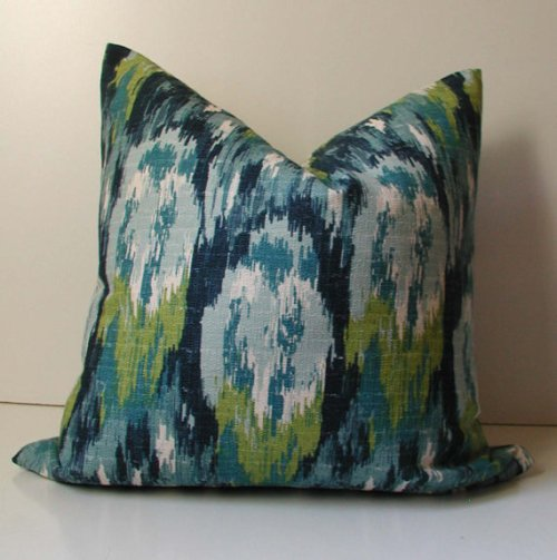 Blue and Green Abstract Ikat