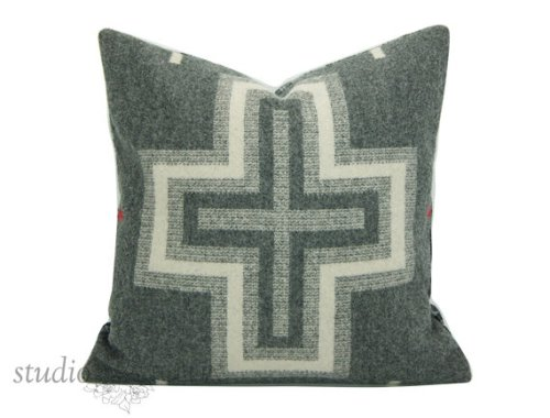 Gray and Cream Cross Pillow made from Pendleton WOOL.