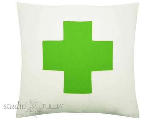 Green and White Cross Pillow