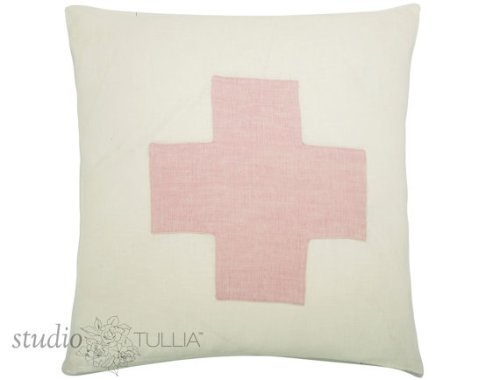 Pink and White Cross Pillow